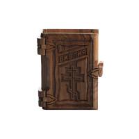 Библия в деревянном переплете, с позолотой (на русском)