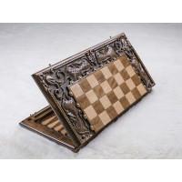 Деревянные шахматы-нарды с резьбой. Грачья Оганян
