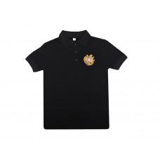 "Мужская черная футболка поло ""Герб Армении"" арт. 10994"