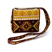 Текстильная сумка коричневая с орнаментом