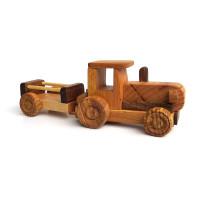 Деревянная эко-игрушка Трактор с открытым прицепом арт. 1452