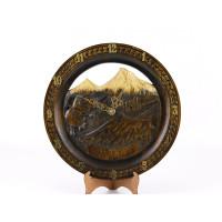"""Деревянные резные настенные часы """"Символы Армении"""""""