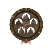 """Деревянные резные настенные часы большие """"Пять Церквей"""""""