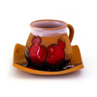 Глиняная кофейная чашка с  блюдцем