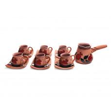 Глиняный кофейный набор 6 чашек и турка арт. 10967