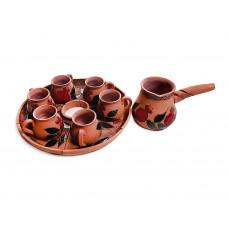 Глиняный кофейный набор (6 чашек и турка) арт. 10974