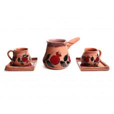 Глиняный кофейный набор для пары (2 чашки и турка)