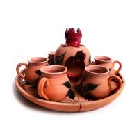 Глиняный кофейный набор (6 чашек и подсвечник) арт. 10976