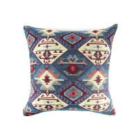 Наволочка на диванную подушку синяя с орнаментом